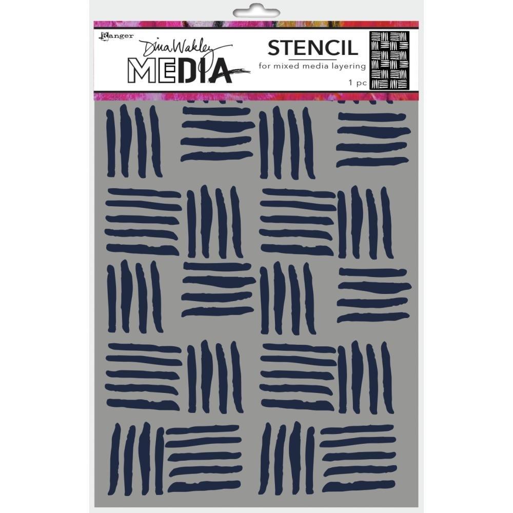 Dina Wakley Media Stencils 9X6 Cross Hatch