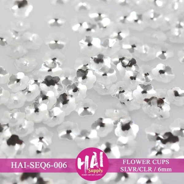 HAI-6mm Silver and Clear Flower Cups