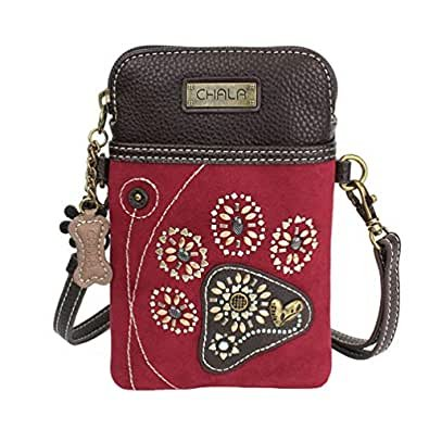 Chala-Dazzled Paw Print Burgundy Cellphone Crossbody