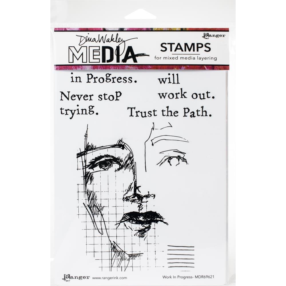 Dina Wakley Media Cling Stamps 6X9-Work In Progress