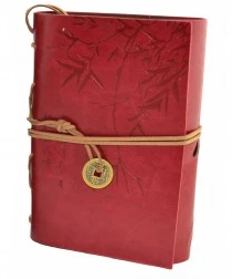 Asian Bamboo Leather Journal red
