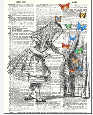 Dictionary Prints Alice and Butterflies