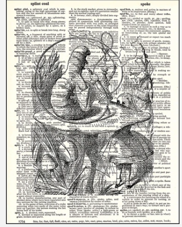 Dictionary Prints Alice and Caterpillar