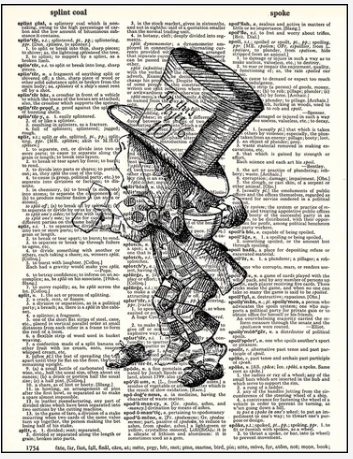 Dictionary Prints Mad Hatter no Shoes