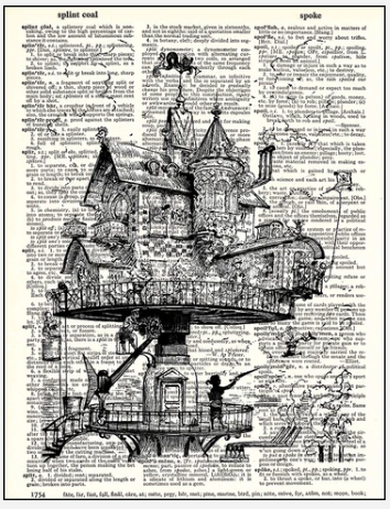 Dictionary Prints Steampunk house