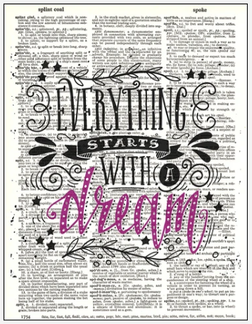 Dictionary Prints Typography Start with a Dream