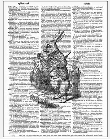 Dictionary Prints White Rabbit