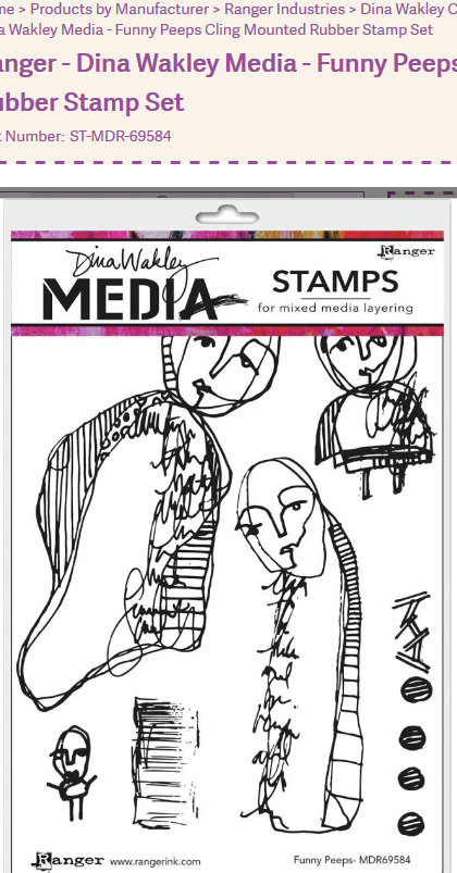 Dina Wakley Media Cling Stamps 6X9-Funny Peeps