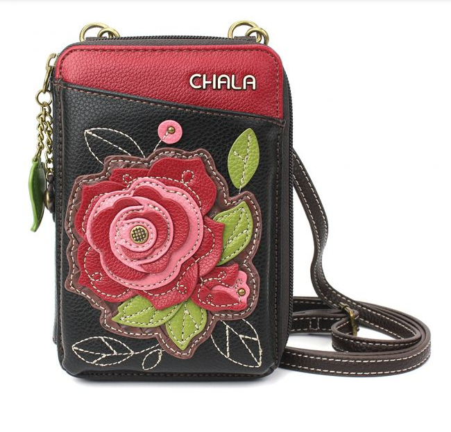 Chala Red Rose Wallet Crossbody Purse