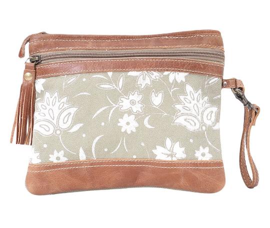 Myra Bags Green Tan Floral Pouch