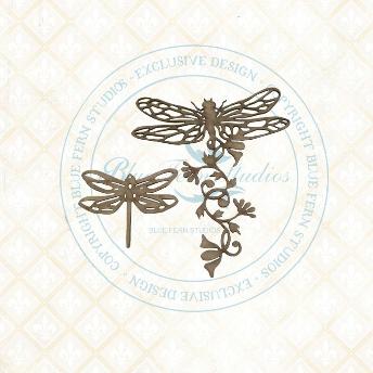 Bird Waltz Dragonfly Blossoms Chipboard