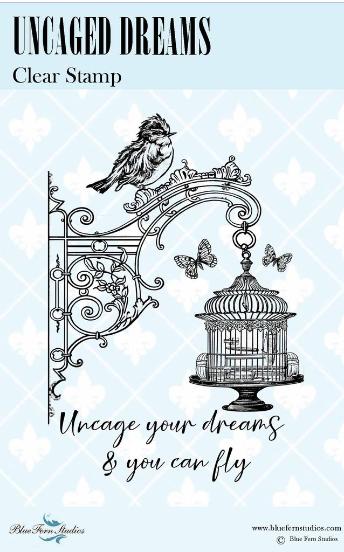 Blue Fern Bird Waltz Uncaged Dreams Stamp