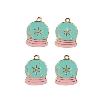 Sugar Cookie By Frank Garcia Enamel Charms 4/Pkg-Snow Globe