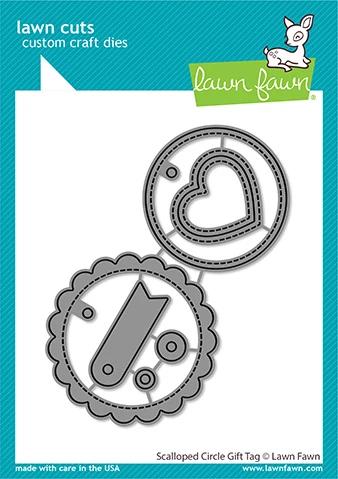 Lawn Fawn scalloped circle gift tag