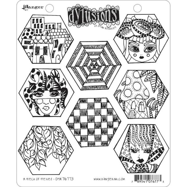 Dyan Reaveley's Dylusions Cling Stamp Collections 8.5X7 A Heck Of Hexies