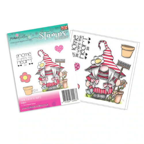 Polkadoodles Gnome is Where The heart Is Clear stamp
