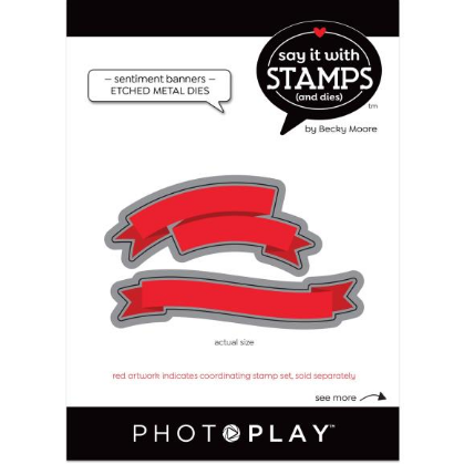 PhotoPlay Say It With Stamps Die Set Banner Sentiments