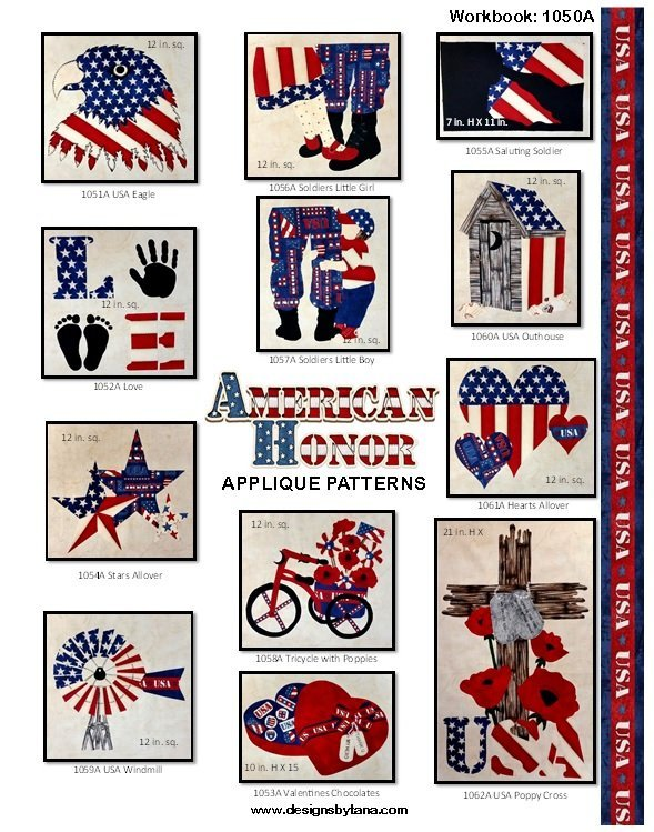 1050A  American Honor Applique Patterns Workbook