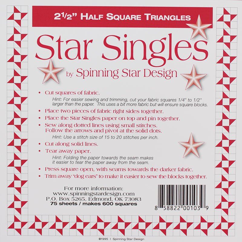 Half Square Triangle Single 2.5 SS025 Spinning Star Design