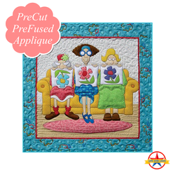 123-Quilters-KIT and background fabric and borders   This fun design from Amy Bradley is a must-have for any avid quilter! Women love to name the ladies after themselves and friends.      Finished size: 24.5 x 24.5
