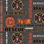 1181 Firefighters Black Heather Print Logo