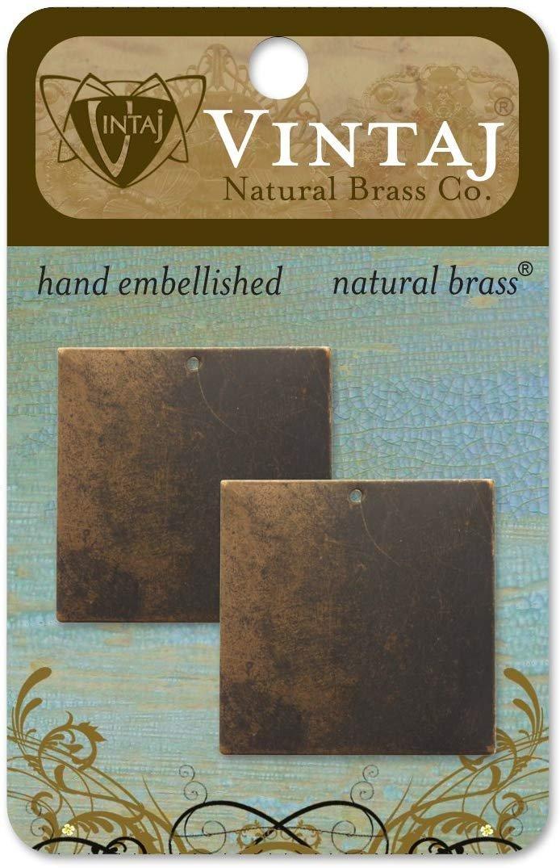 Vintaj 29mm Altered Blank- Square Natural Brass