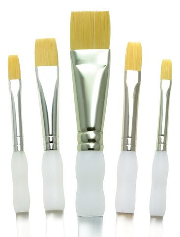 Gold Taklon Soft Grip Short Handle Flat Set, 5 Pc.