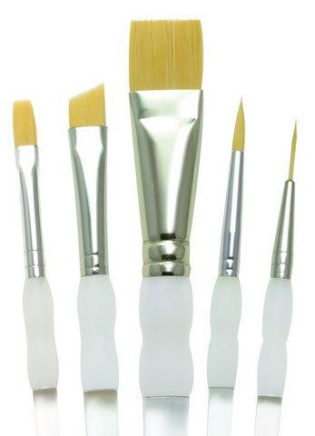 Soft Grip Gold Taklon Brush Set- 5 Pc Beginner