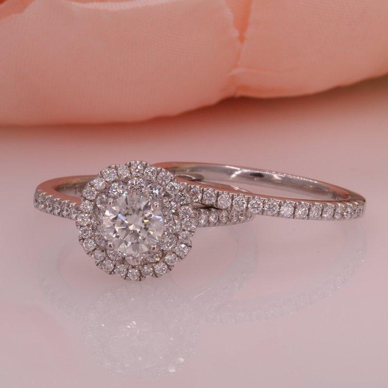 14W Double Halo Diamond Wedding Set .53ct HVS1 Center stone .53ctw
