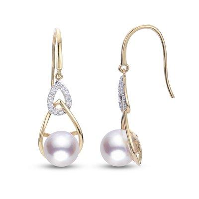 14KT Yellow Gold Cultured 8-8.5mm A Akoya Pearl & Diamond Modern Dangle Earrings .192tw