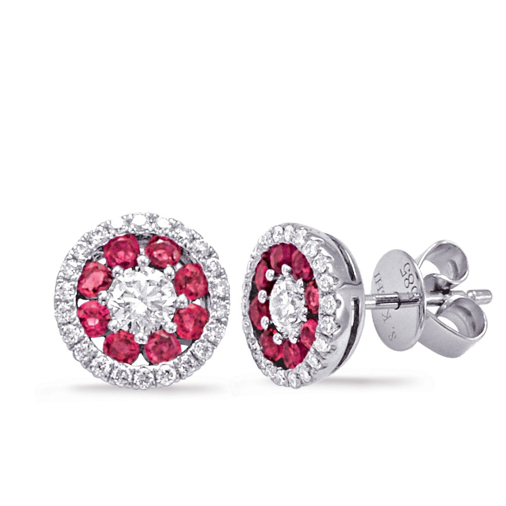 14W Halo Diamond & Ruby Stud Earrings .52dtw .52rtw