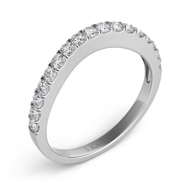 14W Curved Diamond Wedding Band .45tw