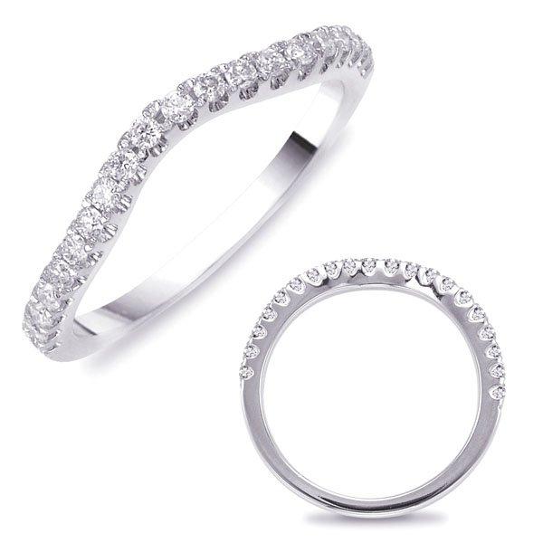 14W Curved Diamond Wedding Band .30tw