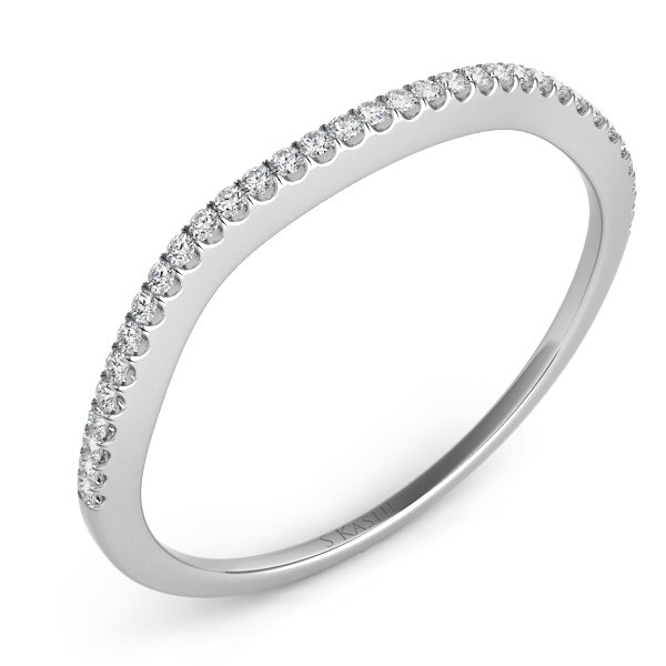 14W 0.11ctw Curved Diamond Wedding Band