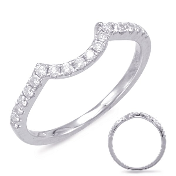 14W Curved Diamond Wedding Band .22tw