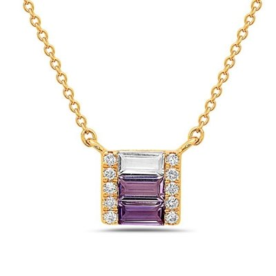 14Y Petite Amethyst White Topaz and Diamond Bar Necklace. .05dtw .18atw .10wtw