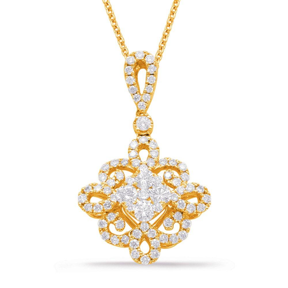 14Y Cluster Flower Diamond Pendant .72tw