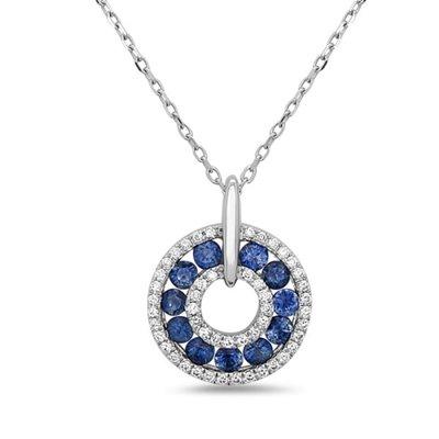 14W Delicate Sapphire and Diamond Halo Pendant .13d .52s