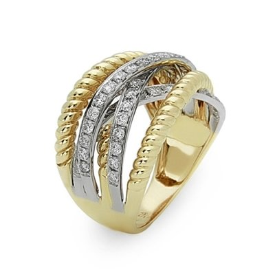 14TT Criss-Cross Diamond and Rope Design Wide Band .87tw