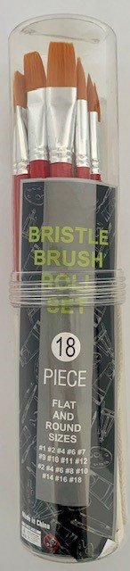 18PC FLAT & ROUND ARTIST BRUSH SET WITH CANVAS POUCH