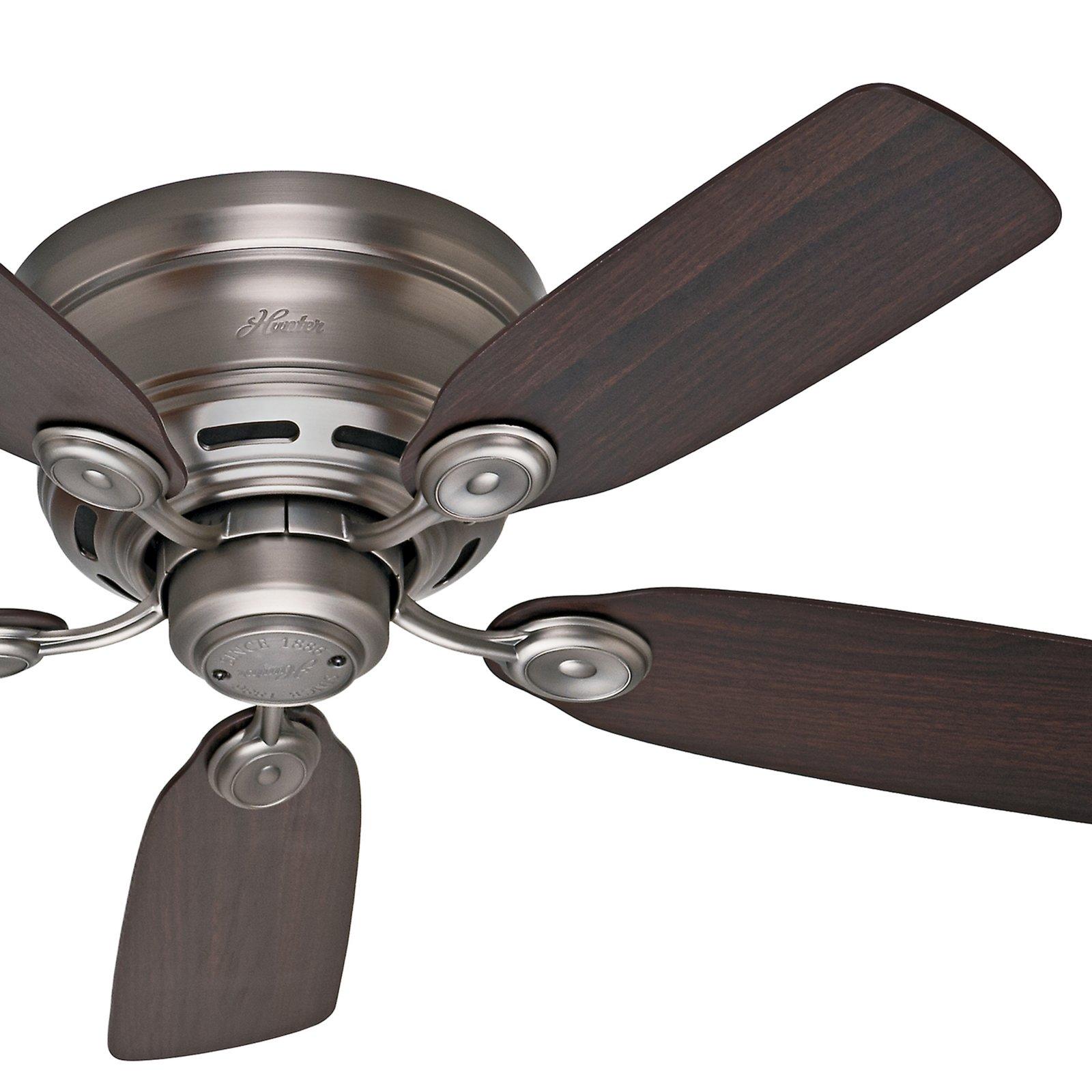 Hunter Fan 42 Hugger Ceiling Fan in Antique Pewter with 5 Dark Walnut Reversible Fan Blades