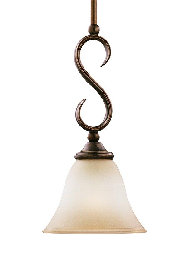 RIALTO COLLECTIONONE LIGHT MINI-PENDANTRUSSET BRONZE FINISH GINGER GLASS