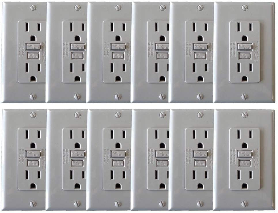 CASE OF GREY GFCI RECEPTACLES (60)