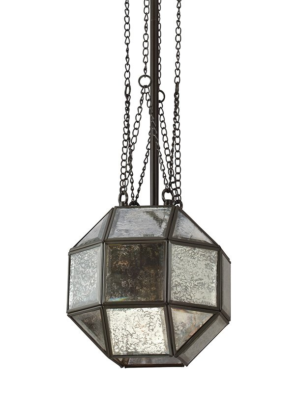 LAZLO COLLECTIONSMALL ONE LIGHT PENDANTHEIRLOOM BRONZE FINISH MERCURY GLASS