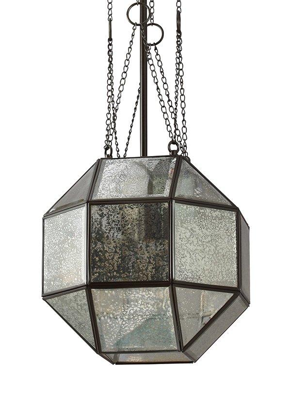 LAZLO COLLECTION MEDIUM ONE LIGHT PENDANTHEIRLOOM BRONZE FINISH MERCURY GLASS