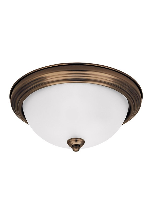 TWO LIGHT CEILING FLUSH MOUNT RUSSET BRONZE FINISH