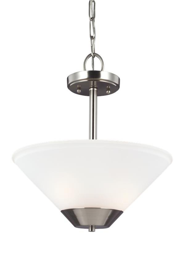 ASHBURNE COLLECTION TWO LIGHT SEMI-FLUSH CONVERTIBLE PENDANTBRUSHED NICKEL FINISH SATIN ETCHED GLASS