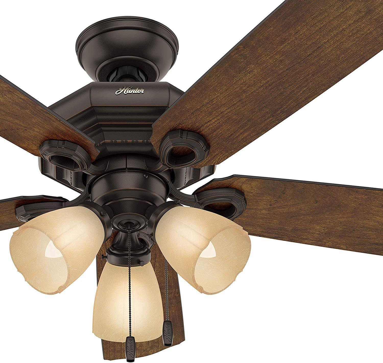 Hunter Fan 46 inch Traditional Onyx Bengal Bronze Indoor Ceiling Fan w/Light Kit