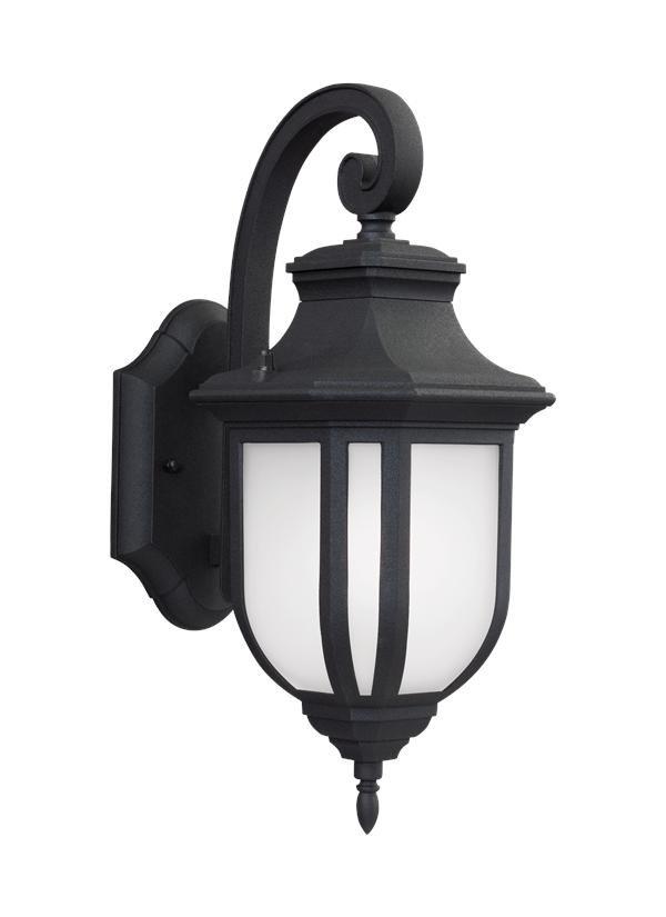 MEDIUM LED OUTDOOR WALL LANTERN BLACK FINISH