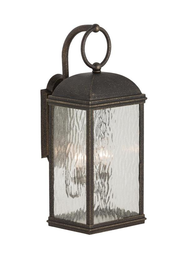 BRANFORD COLLECTION TWO LIGHT OUTDOOR WALL LANTERNOBSIDIAN MIST FINISH SEEDED WATER GLASS